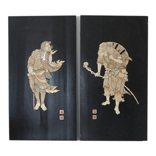 Japanese Meiji Period Shibayama Bovine Bone & Mother of Pearl Inlaid Lacquer Panels - A Pair