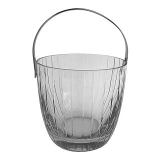 Crystal Faceted Ice Bucket W/Chrome Handle For Sale
