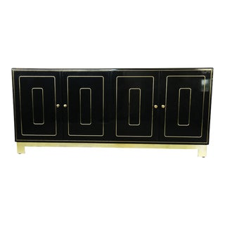 Four-Door Credenza in Black Lacquer by Romweber For Sale
