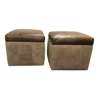 Modern Faux Alligator Embossed Leather Square Storage Ottomans on Casters Pair For Sale