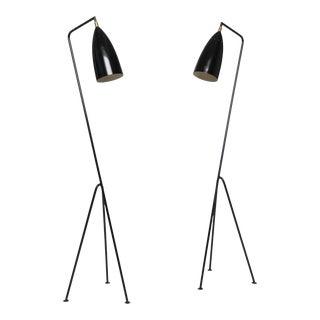 Pair of Mid-Century 'Grasshopper' Floor Lamps in the Manner of Greta Grossman For Sale