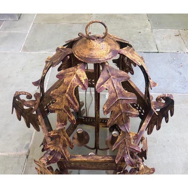 Two Worlds Arts Custom Large Scale Gilt Tole Chandelier/Hall Lantern For Sale - Image 10 of 13