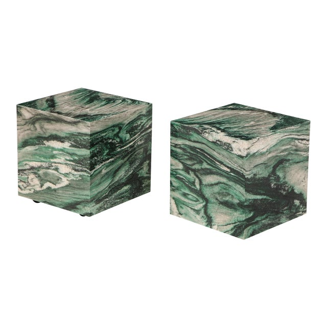 Polar Verde Marble Cubes or Side Tables - a Pair For Sale