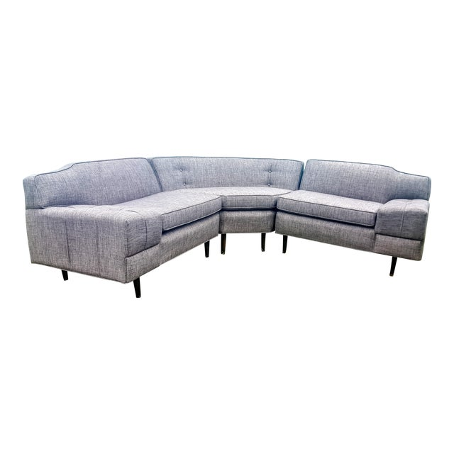 Mid-Century Modern Gray Sectional Sofa - Image 1 of 8