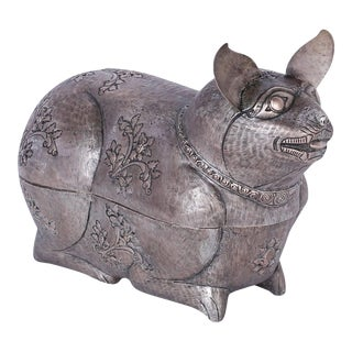 Anglo Indian Metal Cat Box For Sale