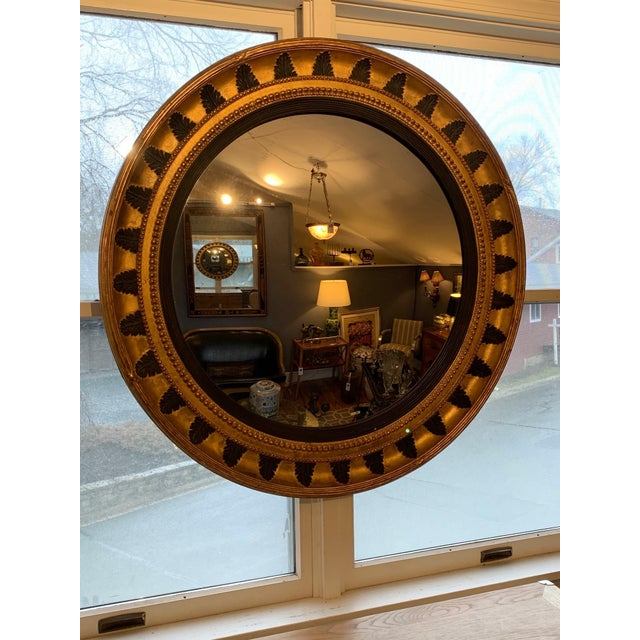 1940s Round Regency Black and Gold Mirror For Sale - Image 5 of 10