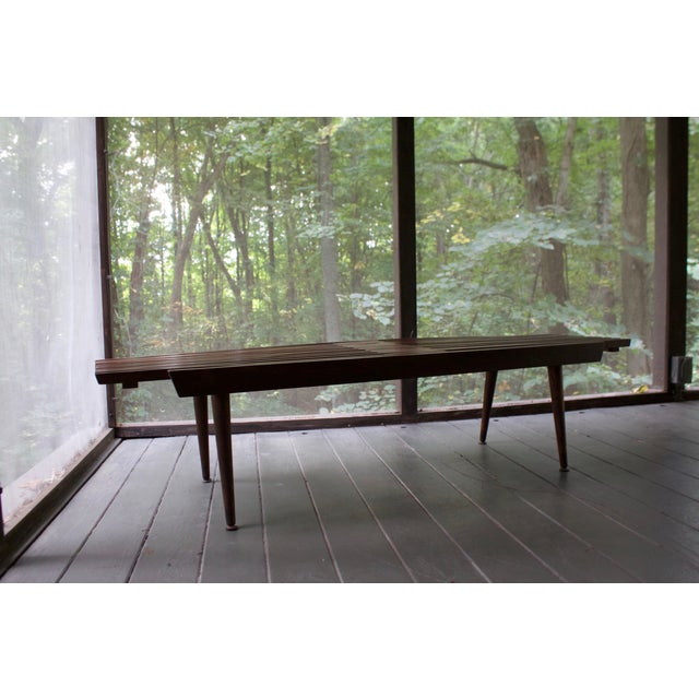 Mid-Century Expanding Slated Bench - Image 5 of 6