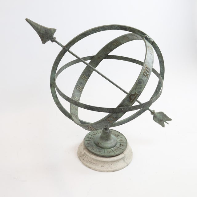 "Renaissance Bronze Armillary Sundial Sphere 24"" Diameter For Sale - Image 3 of 5"