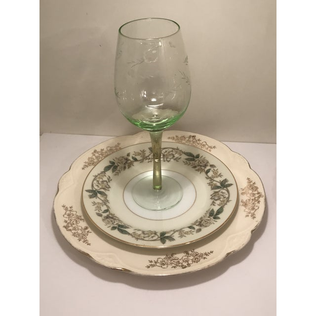 Modern 1940s Shabby Chic Multi Color Table China and Goblets - 6 Pieces For Sale - Image 3 of 6