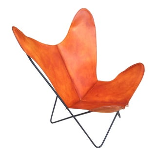 New Leather Vintage Knoll Hardoy Bfk Butterfly Chair For Sale