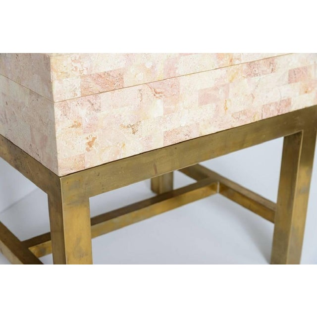 Late 20th Century Maitland Smith Tessellated Marble and Brass Box on Stand For Sale - Image 5 of 11