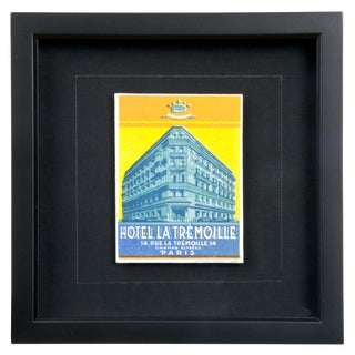 Framed French La Tremoille Hotel Luggage Label For Sale