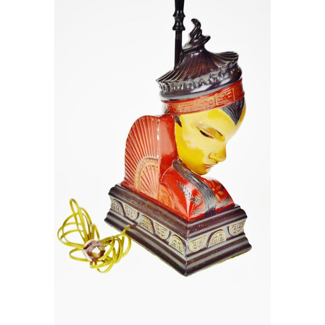 Vintage Asian Chalkware Figural Lamps - a Pair For Sale In Philadelphia - Image 6 of 13