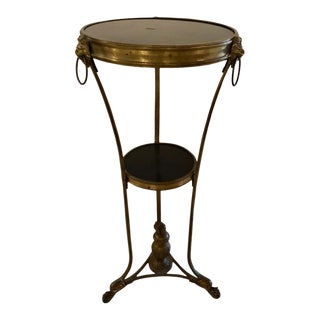 French Gueridon Table or Pedestal, Gilt Bronze and Black Marble Top Empire Style For Sale