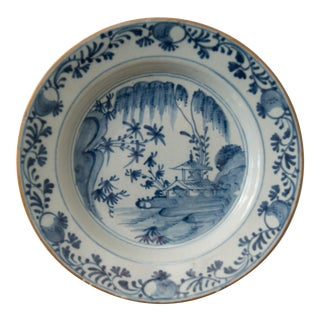 18th-Century Antique Delft Chinoiserie Plate For Sale