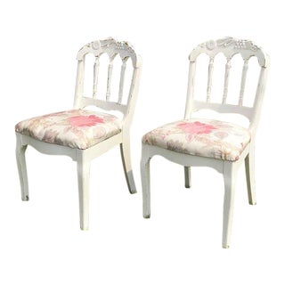 1930s Vintage Petite Carved Chairs- A Pair For Sale