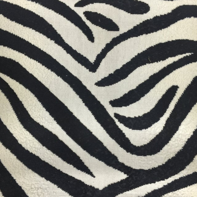 Schumacher Zebra Fabric Folding Safari Chair For Sale - Image 4 of 7