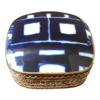 Blue & White Double Happiness Hand Tooled Box For Sale