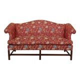Image of Chippendale Camelback Mahogany Sofa in Scalamandre Fabric For Sale