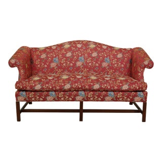 Chippendale Camelback Mahogany Sofa in Scalamandre Fabric For Sale