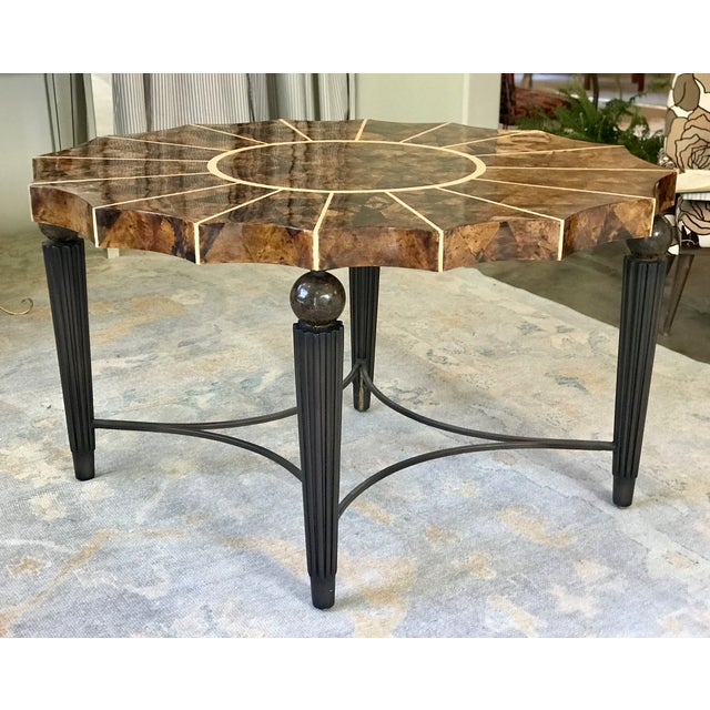 1980s Maitland Smith Inspired Scalloped Oval Lacquered Tobacco Leaf Top Entry Table For Sale - Image 10 of 10