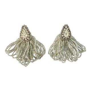 1970s Vintage Silver Beaded Rhinestone Clip on Earrings For Sale