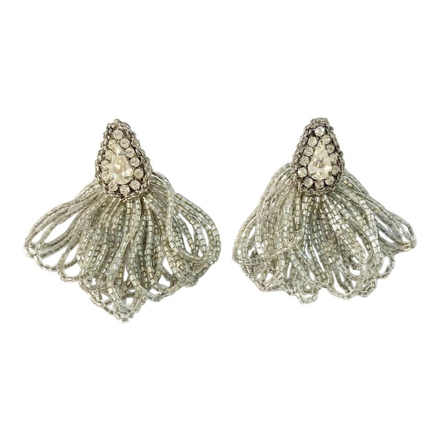 1970s Vintage Silver Beaded Rhinestone Clip on Earrings For Sale