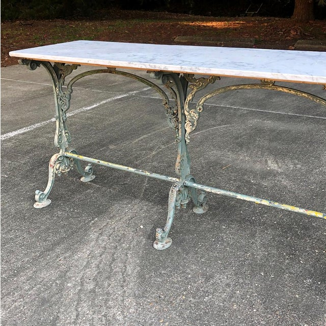19th Century Cast Iron Marble Top Sofa Table ~ Confectioner's Table For Sale In Dallas - Image 6 of 13