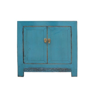 Chinese Distressed Bright Turquoise Blue Foyer Console Table Cabinet For Sale