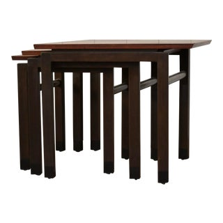 Trapezoid Nesting Tables by Edward Wormley for Dunbar - 3 Pieces For Sale