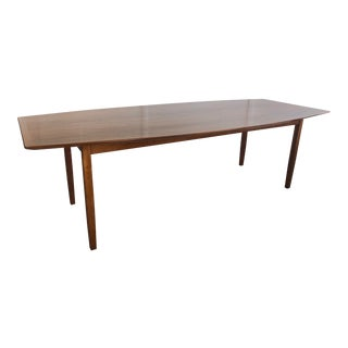 Florence Knoll Boat Shaped Walnut Table For Sale