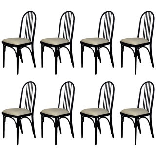 1918-1920 Set of Eight Chairs Model 639 by Thonet, Cotton, Czechoslovakia For Sale