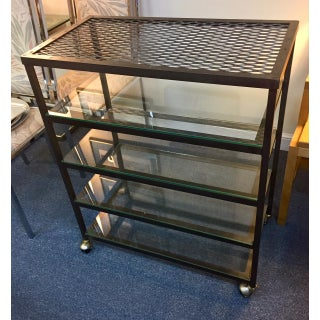 1950s Vintage Metal and Glass Industrial Rolling Shelves Preview