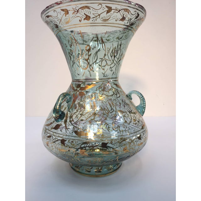 Blue Handblown Mosque Glass Lamp in Mameluk Style Gilded With Arabic Calligraphy For Sale - Image 8 of 10