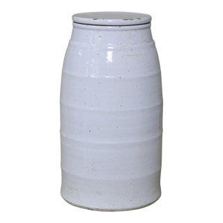 White Ceramic Milk Jar, Medium For Sale