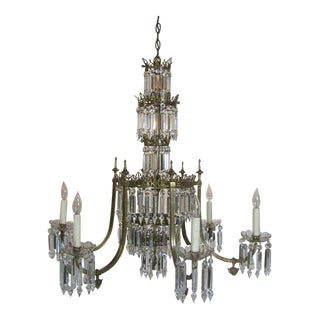 19th Century Regency Brass and Crystal Chandeliers - a Pair For Sale
