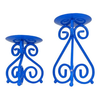 Vintage Mid-Century Ink Blue Wrought Iron Candlesticks - A Pair