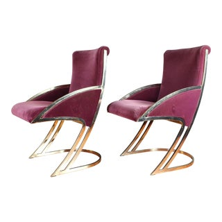 Mid Century Modern Milo Baughman Style Velvet Chrome Dining Chairs - A Pair For Sale