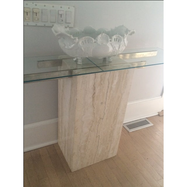Mid-Century Modern Travertine Console Table & Glass Top - Image 9 of 11