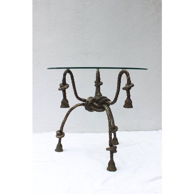 1950s Maison Jansen Style Solid Brass Rope Table For Sale - Image 5 of 10