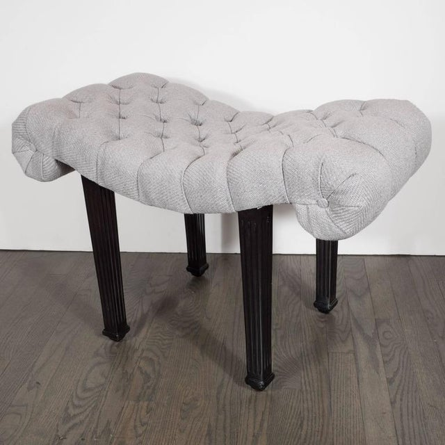 Grosfeld House 1940s Hollywood Regency Scroll Design Button Tufted Bench by Grosfeld House For Sale - Image 4 of 7