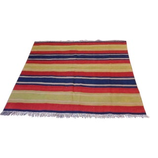"Traditional Nomadic Wool Kilim Rug - 4'1"" x 4'9"" For Sale"