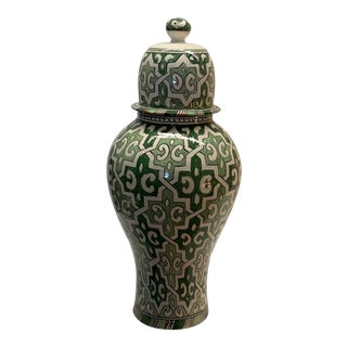 White & Green Moroccan Hand Painted Lidded Jars For Sale