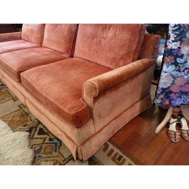 Coral Velvet Sofa For Sale - Image 5 of 9