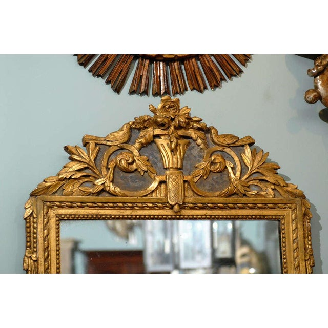 French French 19th Century Gilded Carved Mirror With Bird and Rose Motifs For Sale - Image 3 of 11