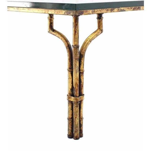 World Class Gilt Metal Faux Bamboo Thick Glass Top Square
