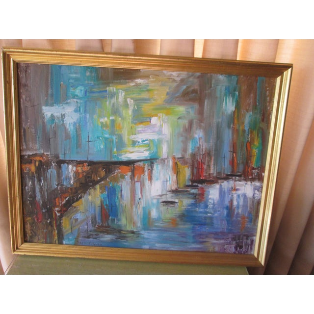 Abstract modern seascape painting. These are ships tied to a dock, abstract and colorful, signed by Fran Oliver.