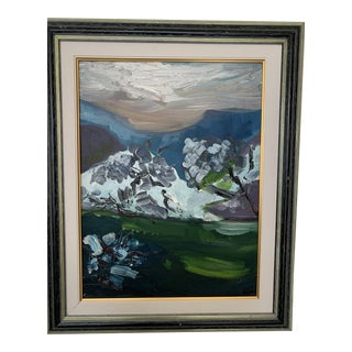 ''Mountain'' Framed Oil Painting on Canvas by Sonja Perdija For Sale