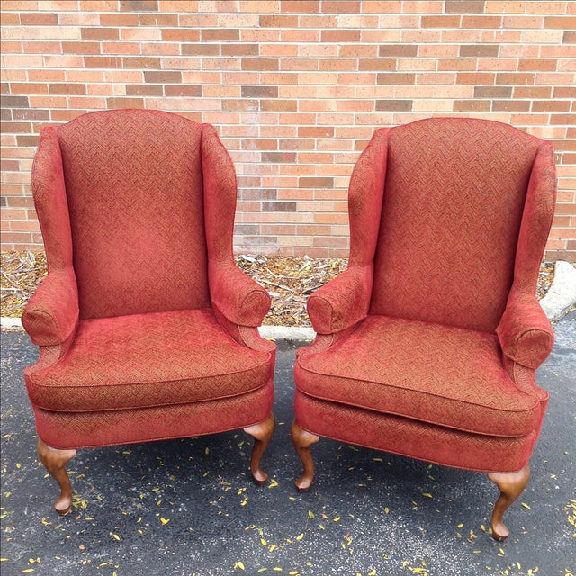 Traditional Walter E. Smithe Wingback Chairs - Pair For Sale - Image 3 of 10