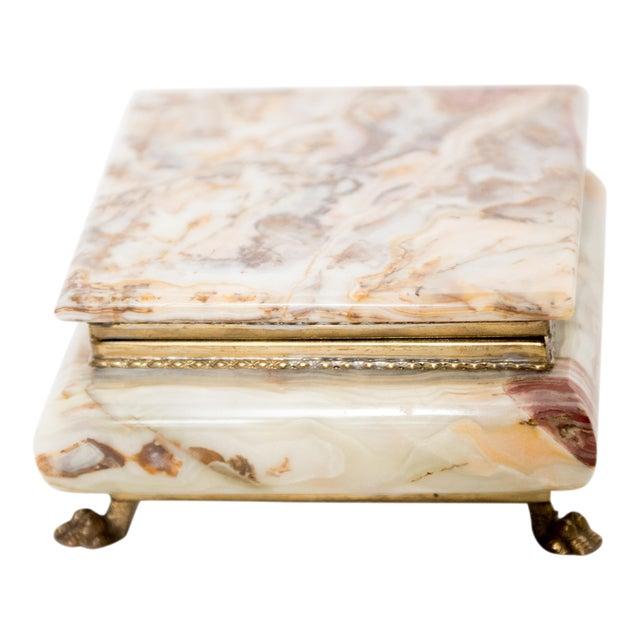 Italian Marble Onyx Trinket Box For Sale
